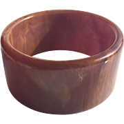 Bakelite Bangle Bracelet Heavily Marbled and Wide