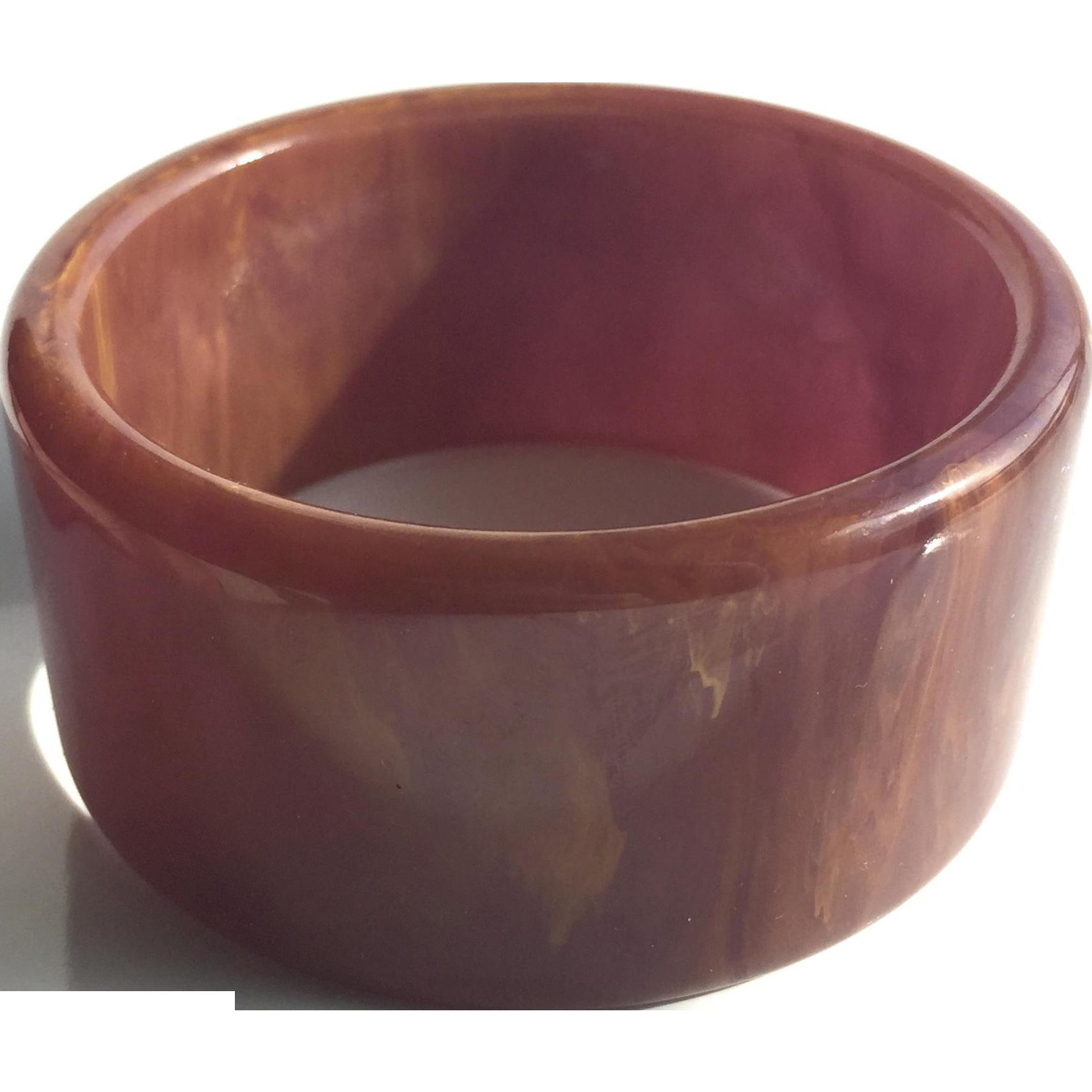 Bakelite Bangle Bracelet Heavily Marbled and Wide