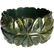Bakelite Bangle Bracelet Carved, Marbled, and Fantastic
