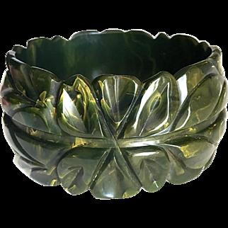 Bakelite Bangle Bracelet Carved, Marbled, and Fantastic
