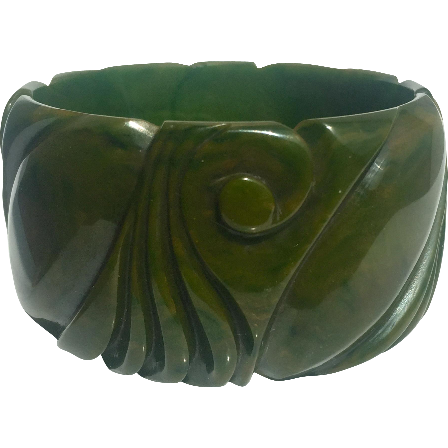 "Bakelite Bangle Bracelet Carved Extraordinary 1 1/2"" Wide"