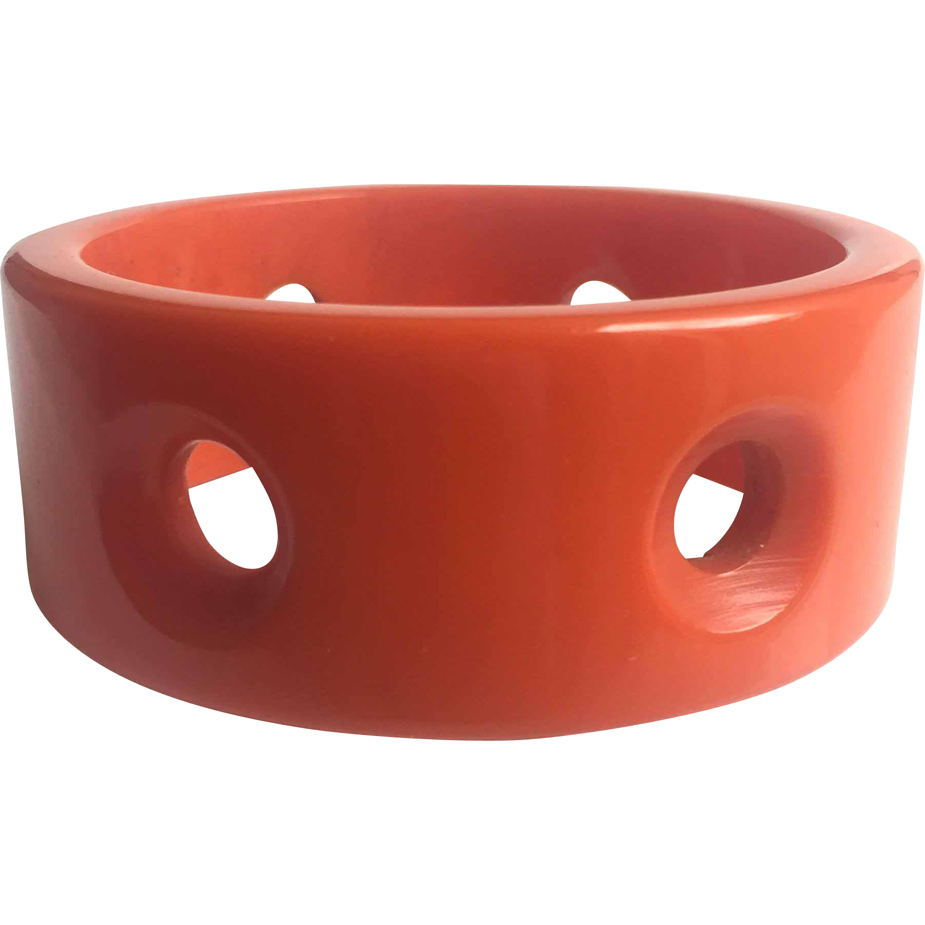 Bakelite Bangle Bracelet Carved with Portholes