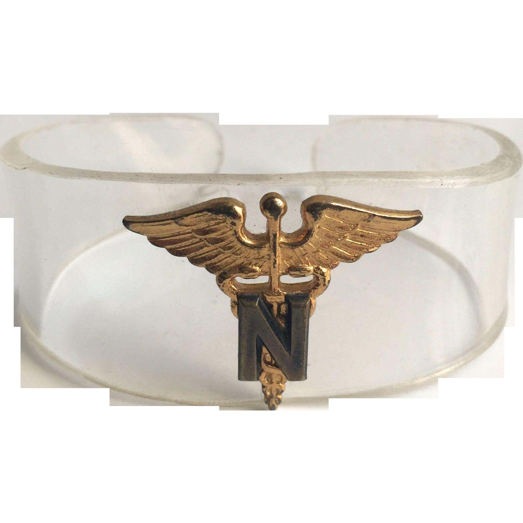 WWII Lucite Sweetheart Cuff Bracelet USAF Nurse