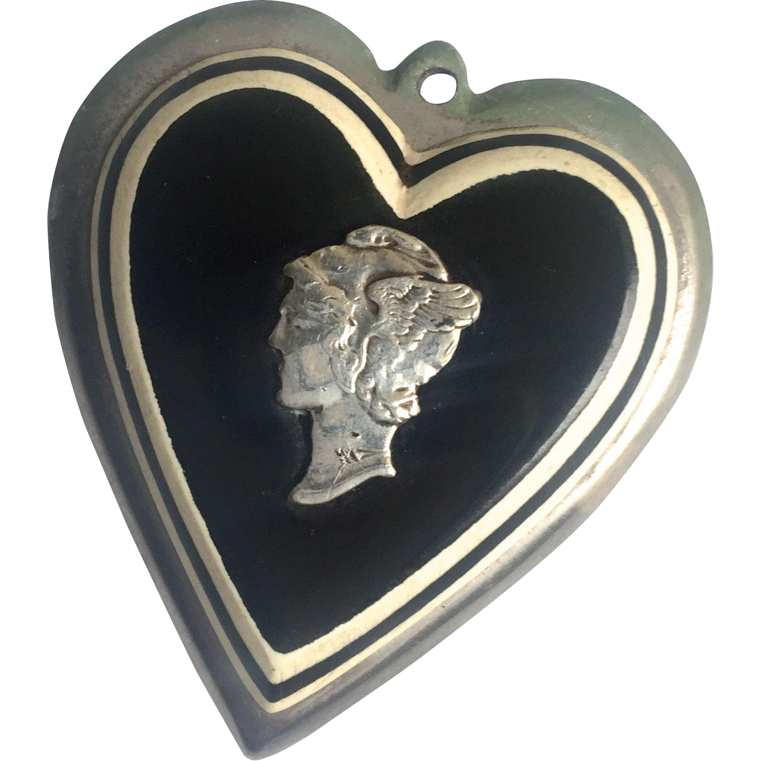 WWII Laminated Liberty Head heart Pendant