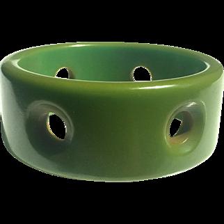 Bakelite Bangle Bracelet Carved with Portholes