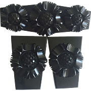 Bakelite Brooch and Dress Clip Set with Bolted Flowers