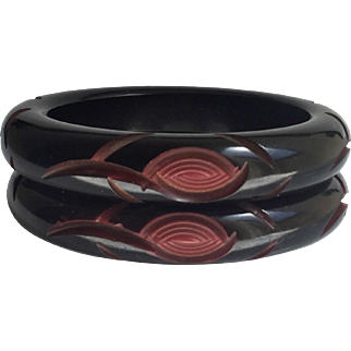 Bakelite Bangle Bracelet Pair Resin Washed Cut Back