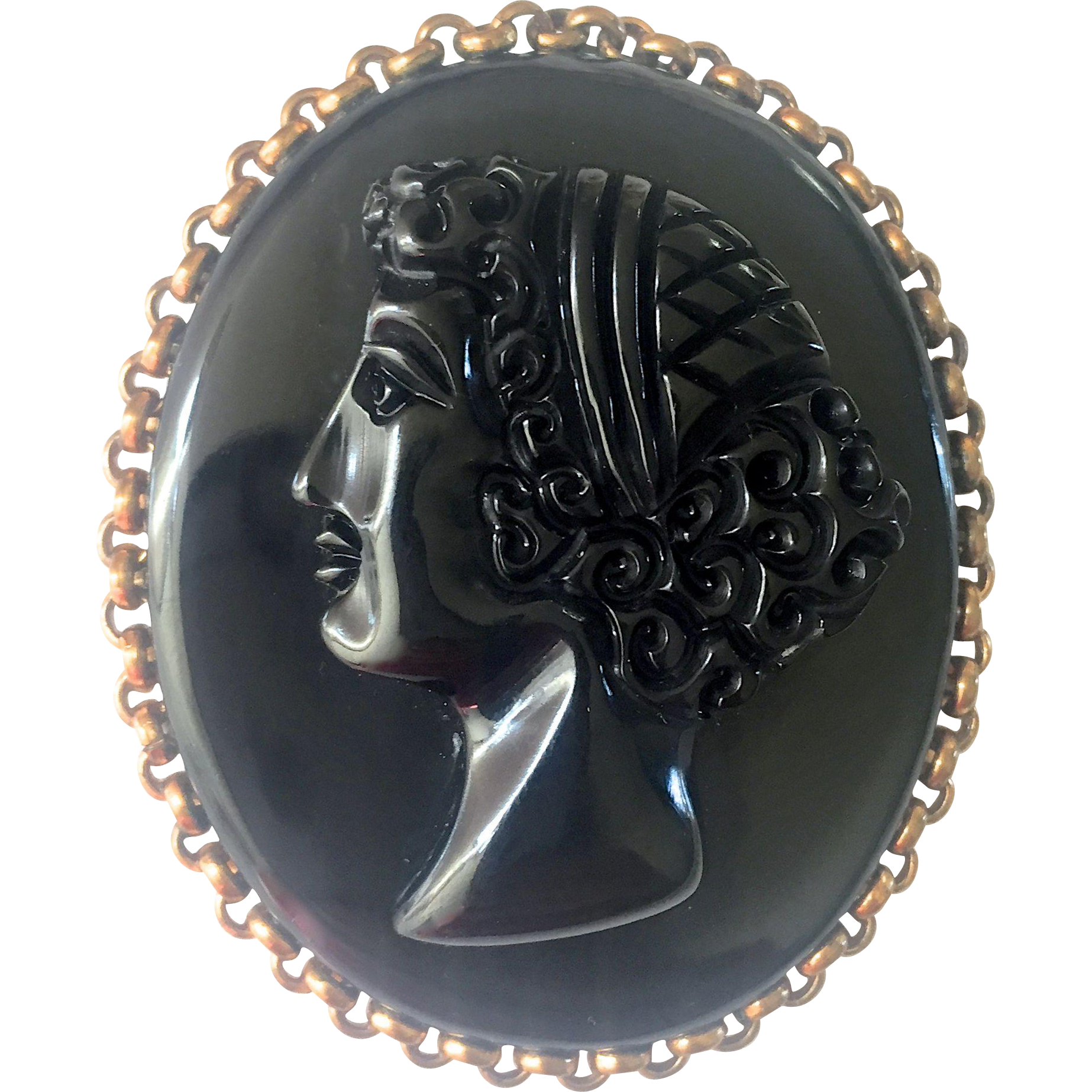 Bakelite Carved Cameo Brooch in Black