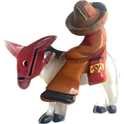 Bakelite Mexican Man on a Lucite Donkey Brooch