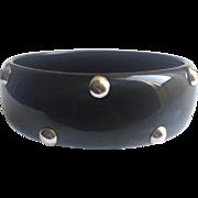 Bakelite Bangle Bracelet Black with Chrome Balls
