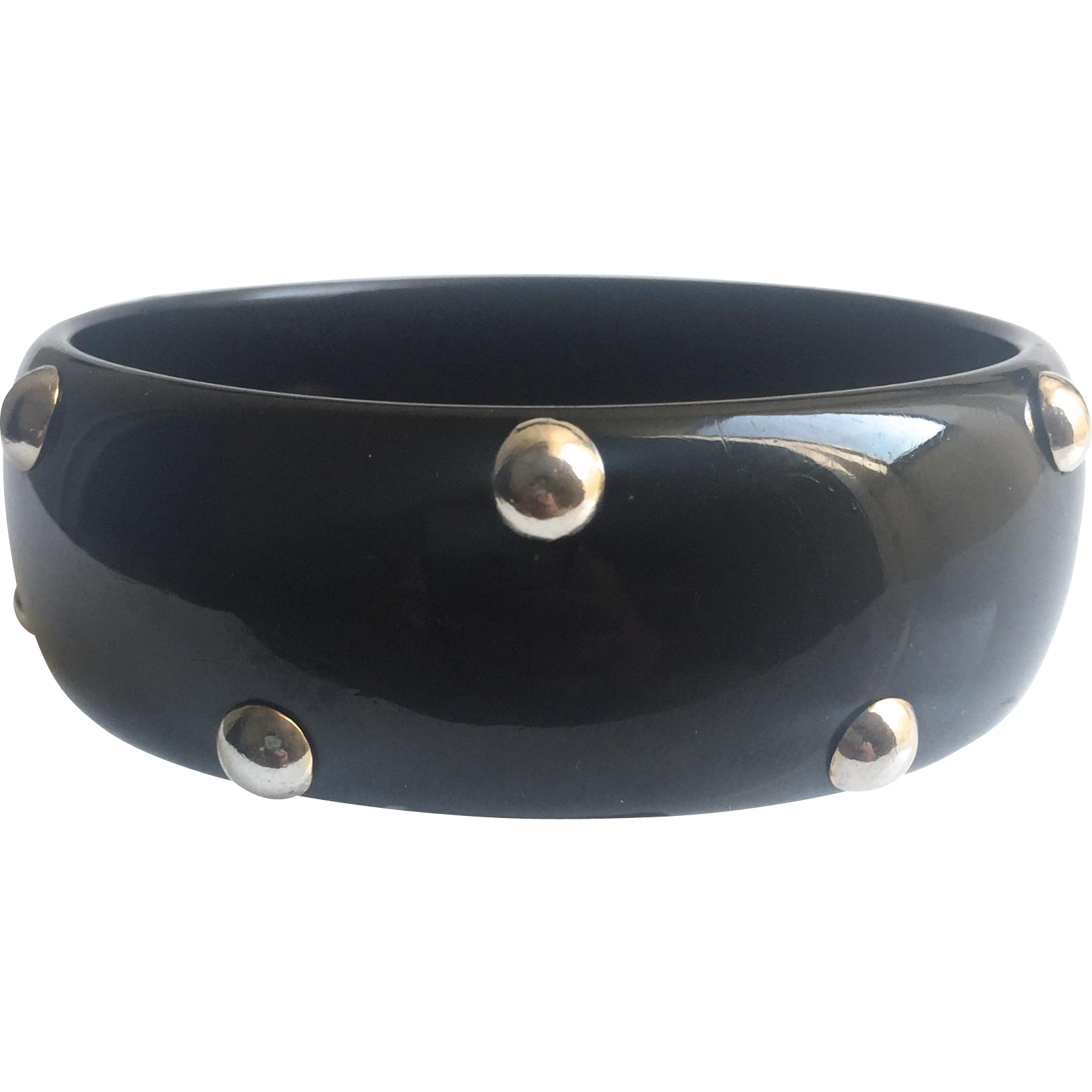 Bakelite Bangle Bracelet Black with Chrome Balls