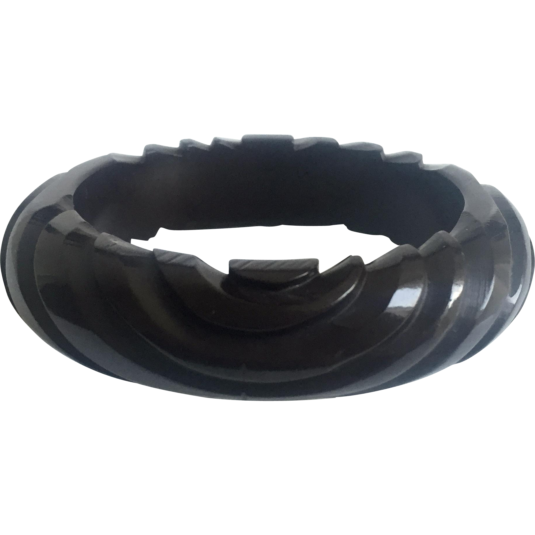 Bakelite Bangle Bracelet Spiral Carved Prystal