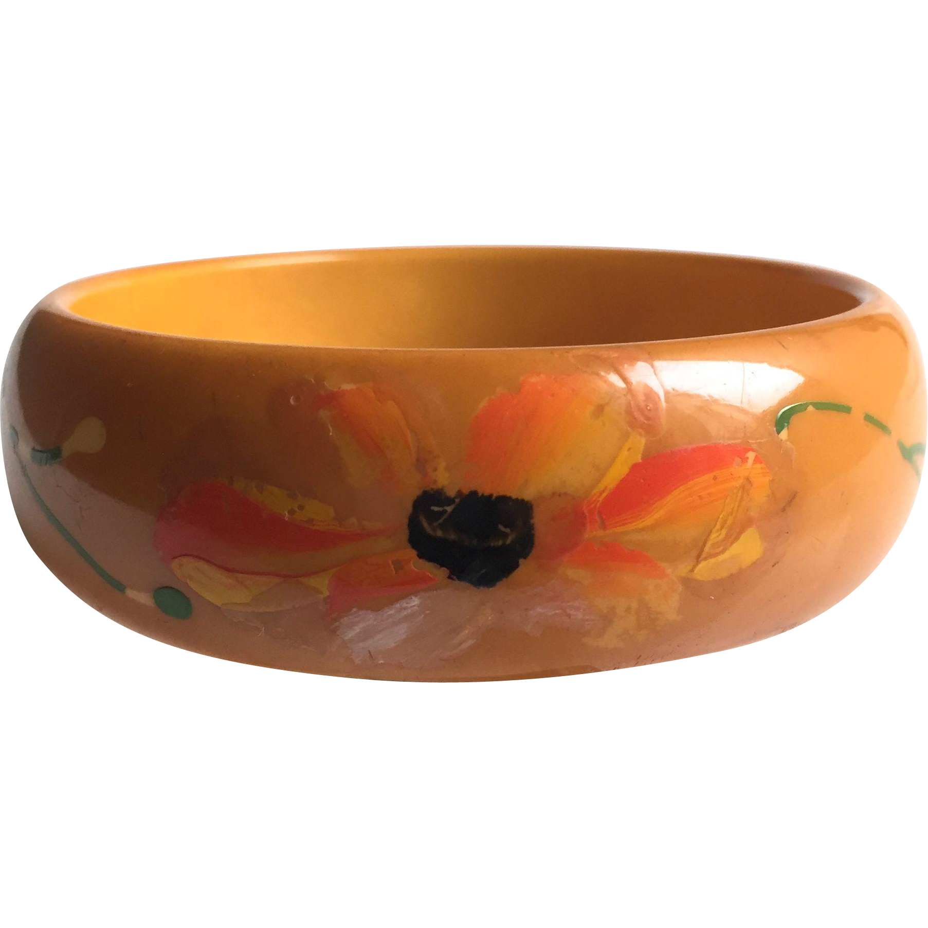 Bakelite Bangle Bracelet with Original Floral Decal