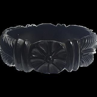 Bakelite Bangle Bracelet Carved Flower and Leaf in Black
