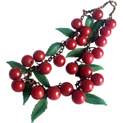 Bakelite Necklace with Cherries and Leaves