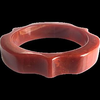 Bakelite Bangle Bracelet Carved and  Marbled
