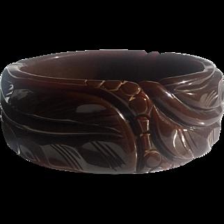 Bakelite Bangle Bracelet Carved with a Leaf and Berry Design