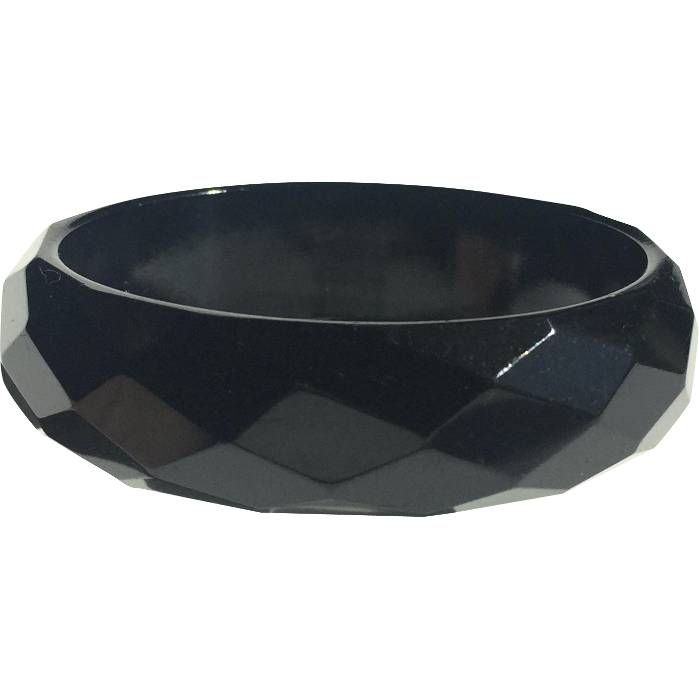 Bakelite Bangle Bracelet Black Carved in Facets