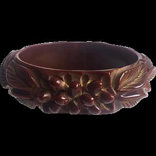 Bakelite Bangle Bracelet Heavily Carved Leaves and Berries