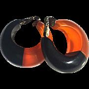 Bakelite Laminated Clip Earrings