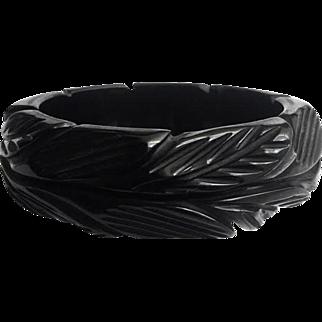 Bakelite Bangle Bracelet 1 Inch Chunky and Heavily Carved in Black