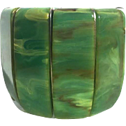 Bakelite Fin Stretch Bracelet Translucent Aqua