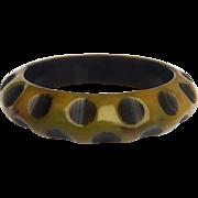 Bakelite Bangle Bracelet Carved Dots Resin Washed
