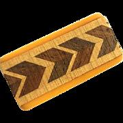 Bakelite Pin Brooch with Inlaid Geometric Wood