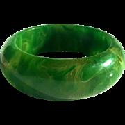 Bakelite Bangle Bracelet Translucent, Thick, Chunky Marbled Green