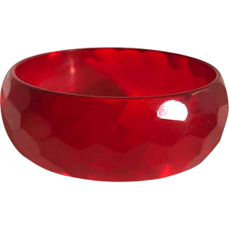 Bakelite Bangle Bracelet Carved Cherry Red Transparent