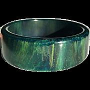 Bakelite Bangle Bracelet Marbled Blue Moon