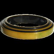 Bakelite Bangle Bracelet Carved Art Deco Design Green and Yellow
