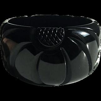 Bakelite Classic Bangle Bracelet Carved Flower and Pineapple