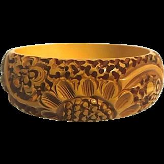 Bakelite Bangle Bracelet Heavily Carved Sunflower