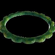 Bakelite Bangle Bracelet Carved Daisy in Blue Moon