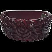 Bakelite Carved Cranberry Hinge Bracelet