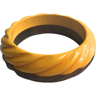 Bakelite Bangle Bracelet Carved and Laminated