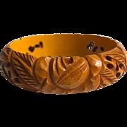 Bakelite Bangle Bracelet Heavily Carved Flowers and Leaves