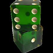 "Bakelite Pair  of Large Dice 2 1/2"" Cubes"