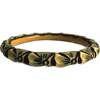 Celluloid Bangle Bangle Bracelet France ca. 1920 Carved and Painted