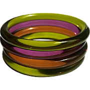 Lucite Bangle Bracelets Set of 4