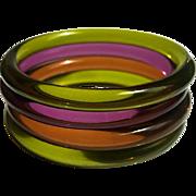 Lucite Bangle Bracelets Set of 4