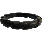 Bakelite Bangle Bracelet Rope Carved in Bittersweet Chocolate