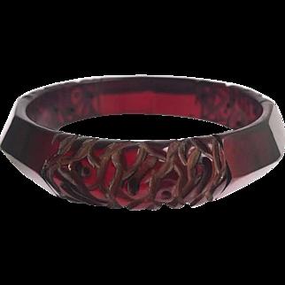 Bakelite Bangle Bracelet Transparent Carved and Dyed