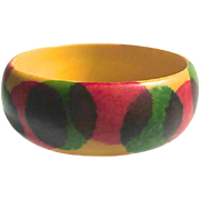 Bakelite Bangles Bracelet Sponge Painted Pink and Green Dots