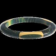 Belle Kogan Bakelite Bangle Bracelet Elongated Dots