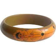 Vintage Pierrot Painted Galalith Bracelet Bangle France