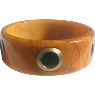 Bakelite Bangle Bracelet Five Inlaid Dots