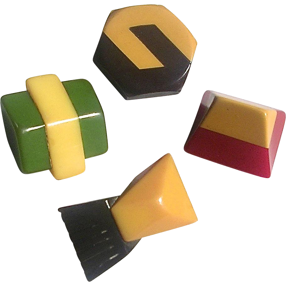 Set of Four Laminated Bakelite Buttons