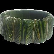 Bakelite Bracelet Chunky Heavily Carved Leaves